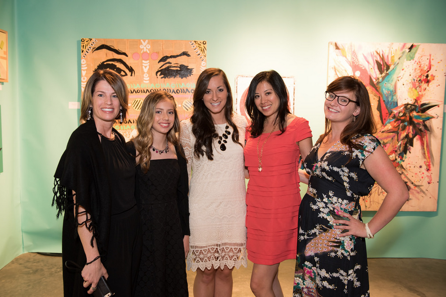 Kristi with her daughter and P.S. ARTS staff members at an event